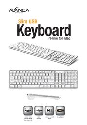 Avanca Qwerty Slim USB keyboard for MAC Silver White AVKB-N07 Leaflet
