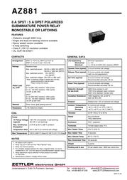 Zettler Electronics AZ881-2A-12DEA Subminiature PCB Mount Power Relay 12Vdc 2 NO, DPST-NO AZ881-2A-12DEA Data Sheet