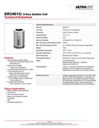 Ultralife ER34615, D Size 19000mAh Lithium Battery Cell 3.6V ER34615 Data Sheet