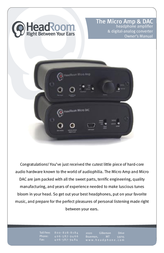 HeadRoom Headphone Amplifier & Digital-Analog Converter Manuel D'Utilisation