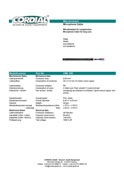 Cordial CMK 250 Speaker Cable, , Black Sheath CMK 250 Data Sheet