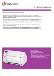 TallyGenicom 2150S Serial Matrix with Cutter 901344 Leaflet