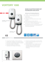Vortice Wall-mounted hair dryer Vort Dry 1000 Plus 70921 1000 W + shaver socket White 70921 Data Sheet