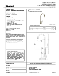 BLANCO Contemporary Kitchen Faucet with Pull-Down Spray 157-099 Leaflet