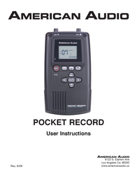 American Audio Pocket Record 3/08 User Manual