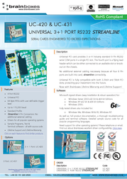Brainboxes Universal 3-Port RS232 PCI Card UC-431 User Manual