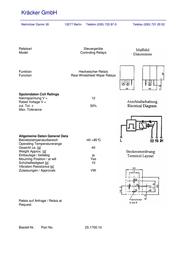 Kraecker Kräcker 12 Vdc Automotive Relay 15 A 25.1700.10 Data Sheet