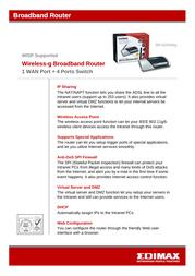 Edimax BR-6204WG Wireless Broadband Router BR6204WG Leaflet