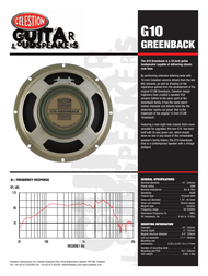 Celestion g10 greenback Specification Guide