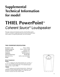 Thiel cs1.6 Specification Guide