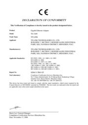 TP-LINK TG-3269 Declaration Of Conformity