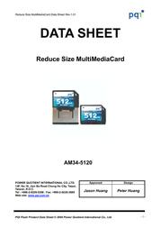 PQI Dual Voltage RS-MMC Card 256Mb AM34-2560-0112 Data Sheet
