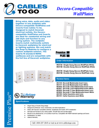 C2G Decorative Dual Gang Wall Plate - White 03728 Leaflet