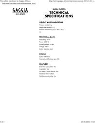 Gaggia Carezza RI8525/01 Leaflet