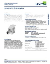 Hometech Quickport F-Type Adapters 41084-FxF Leaflet