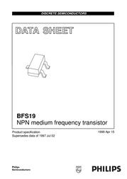 Nxp Semiconductors N/A BFS 19 NPN Case type SOT 23 I(C) 0.3 BFS19 Data Sheet