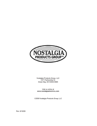 Nostalgia Electrics KRS-2000 Series Owner's Manual