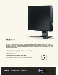 Eizo FlexScan® 19 inch LCD S1931SA-BK Leaflet