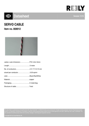 Reely SERVO CABLE, 5M, 3X0,30MM²,SW/Wß/RT SH1998C138C Data Sheet