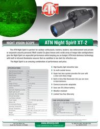 ATN Night Spirit XT 2 NVMNNSPX20 Leaflet