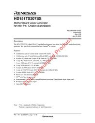 Renesas HD151TS207SS User Manual