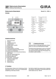 Gira Timer 038503 038503 Data Sheet