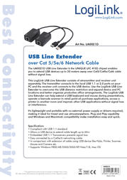 LogiLink Line Extender USB via CAT5/6 UA0021D Data Sheet