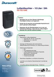 Duracraft DD-TEC10NE2 Data Sheet