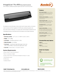 Ambir Technology ImageScan Pro 490i DS490-AS Leaflet
