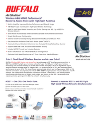 Buffalo WHR-HP-AG108 Wireless-A&G Router WHR-HP-AG108-1 Leaflet