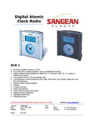 Sangean Digital Atomic Clock Radio RCR-1 RCR1ZIL Leaflet