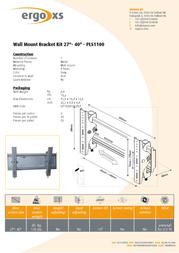 """ErgoXS Wall Mount Bracket Kit 27""""- 40"""" PLS1100 Leaflet"""