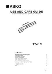 Asko T741C Manual