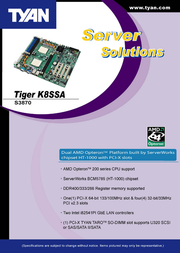 Tyan Tiger K8SSA (S3870) S3870G2NR Leaflet