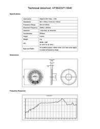 Kepo KP3642SP1-5840 miniature speaker 8 Ω, 500 Hz ± 20 % KP3642SP1-5840 Data Sheet