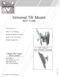 "Premier Mounts Universal Tilt/Pivot Mount for 13-30"" Displays (XUT-1330L) XUT-1330L Leaflet"