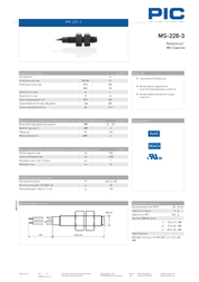 Pic MS-228-3 Reed Sensor 1 closure 1 A 10 W MS-228-3 Data Sheet