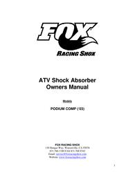 Cannondale atv fox podium shock User Manual