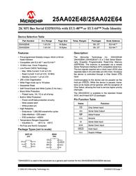 Microchip Technology 25AA02E48T-I/OT Memory IC SOT-23-6 2 K 256 x 8 25AA02E48T-I/OT Data Sheet