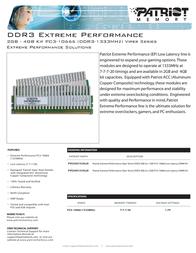 Patriot Memory DDR3 2GB (2 x 1GB) PC3-10666 Low Latency DIMM Kit PVS32G1333LLK Leaflet