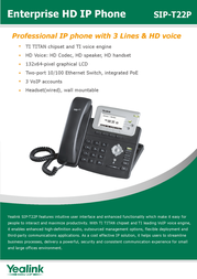 Yealink SIP-T22P 8061104 Leaflet