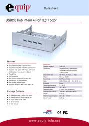 "Equip USB2.0 Hub internal 4 Port 3,5""/5,25"" 128334 Data Sheet"