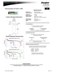 Energizer 627916 Data Sheet