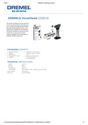 Dremel VersaFlame (2200-4) F0132200JA Leaflet