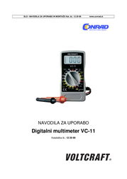 Voltcraft VC-11 Digital-Multimeter, DMM, 2000 counts CAT III 250 V VC11 User Manual