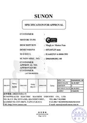 SUNON HA60251V4-0000-999 DC brushless fan, axial fan HA60251V4-0000-999 Data Sheet