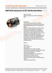 YeahRacing MT-0016 Leaflet