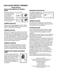 Wahl EAR-NOSE-BROW Leaflet