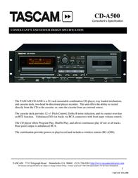 Tascam CD-A500 Leaflet