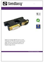 Sandberg Adapter DVI-monitor to VGA-out 502-93 Leaflet